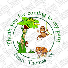35 x Personalised Round Jungle theme Labels 37mm Stickers Party Seals animals
