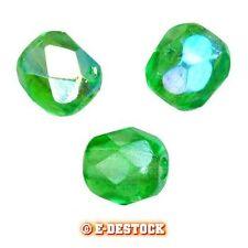 25 Perles Facettes cristal de boheme 6mm  PERIDOT AB