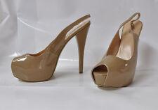 "Shoedazzle ""Loclyn"" nude patent open-toe hi-heel slingback - Size 11 6"" heel New"