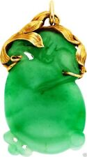 Jewelry033 Estate jadeite jade pendant, secured by a 14K gold frame.  10.5 Grams