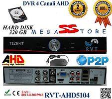 Kit DVR 4 Canali AHD  CON HD 320GB P2P CLOUD   WEB SERVER HDMI HARD DISK APP