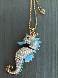 Betsey Johnson Light Blue Enamel Seahorse w. White Pearl Design Pendant Necklace