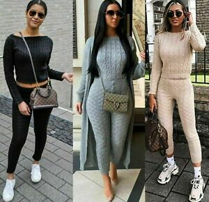 Womens Ladies Chunky Cable Knitted Co-ord Top Legging Loungewear Tracksuit Set