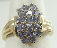 10K Solid Yellow Gold Prongs Set Round Brilliant Cut Cluster Tanzanite Ring