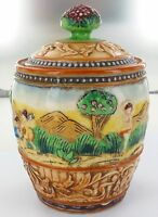 EXTREMELY NICE / VINTAGE JAPANESE MARUHON WARE SMALL LIDDED BISCUIT / LOLLY JAR.