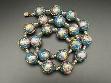 Vintage Venetian Murano Fiorato Wedding Cake Lampwork Gold Glass Beads Necklace