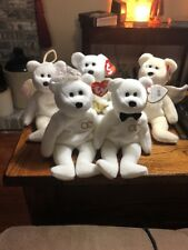 Ty Bea Babies Bride and Groom Plush Set Mr. and Mrs. Retired Bears Plus  3 Halo