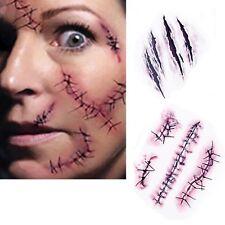 30PCS Halloween Blood Body Scab Fancy  Scar Tattoos Zombie Cuts Slash Makeup CA