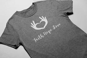 Faith Hope Love T Shirt Christian Religious Tee Slogan Top Unisex Slouch Womens
