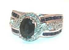 Exquisite Sapphire Diamond Ring set in 14K white Gold Watch Video ! Orig, $2500-