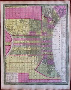 Philadelphia city plan Pennsylvania 1846-9 Mitchell Burroughs scarce urban map