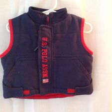 Polo boys vest 6-9 mo poly/cotton blend sleeveless zipper/velcro front navy