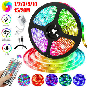 1-20m LED Strip TV Back Lights RGB Color Changing Kitchen Cabinet USB Lighting