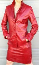 WOMEN'S  GLAZED RED LEATHER SUIT - JACKET and SKIRT -  SIZE 6 - BIBA