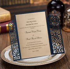 60PCS Printing Personalized Blue Wedding Invitations Cards & Envelopes & Seals