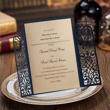 60PCS Printing Personalized Blue Wedding Invitations Cards & Envelopes & Seals