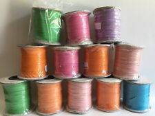 Lot of 12 100 Meter Spools 1mm Cotton Wax Cording Assorted Colors Wholesale Cord