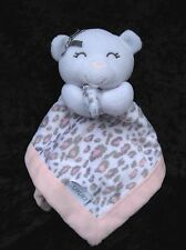 Carters Pink White Bear Gray Leopard Print Soft Lovey Security Blanket