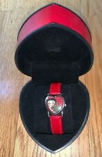 2002 King Features Betty Boop Red Roses Heart Shaped Bezel Red Leather Watch- #1