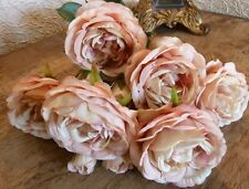Bunch of 10 Stunning Antique Pink Roses, Artificial Luxury Faux Silk Flowers