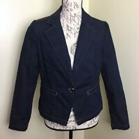 Chicos dark blue denim jacket blazer one-button size 0/S/Small/4/6
