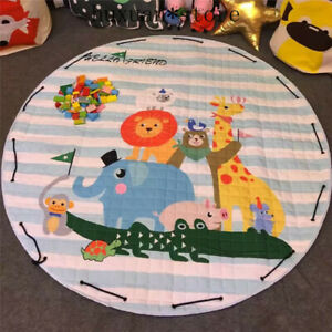 Cotton Soft Baby Game Pad Non-slip Carpet Room Mat 150cm Circular Crawl Cartoon