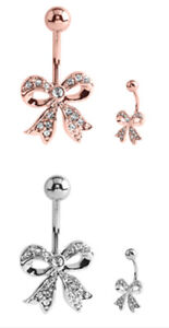 Pretty Rose Gold Steel / Polished Stainless Steel Jewelled Curved Belly Bar 10mm