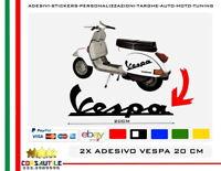 2X ADESIVO SCRITTA VESPA 20CM PER SCOCCHE VESPONE PIAGGIO MP3 BEVERLY SCOOTER