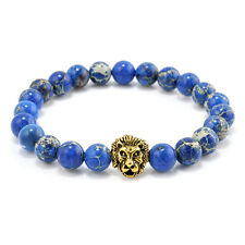 MEN'S BLUE SEA SEDIMENT JASPER STONE GOLD LION BRACELET 8 IN LONG /8 MM BEADS
