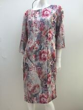 Laura Ashley sz 12 Pink & Grey Floral Straight Cut Dress AS NEW