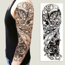 Full Arm Tattoo XXL  Einmal Tattoo Black Clock Flower Rose  44,5x15,5cm QB-3011