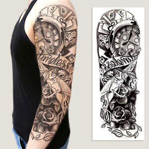 Full Arm Tattoo XXL  Einmal Tattoo Black Clock Flower Rose  44,5x15,5cm QB-3011