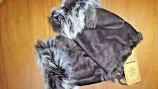 Winter Fingerless Leather Gloves Hand Wrist W/Rabbit Fur- Coffee NWT Free Ship