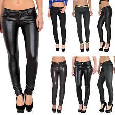 Damen Jeanshose Röhrenjeans Skinny Hüftjeans Jeans Hose in Leder Optik H12