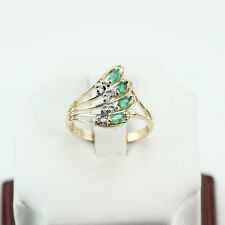 LADY'S 0.52 CT. EMERALD 0.10 CT. DIAMOND COCKTAIL RING 14K YELLOW GOLD SIZE US7