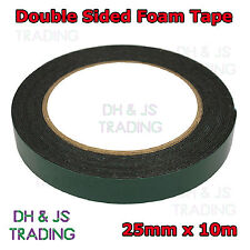 25mm x 10m Black Strong Double Sided Self Adhesive Foam Car Trim Body Tape