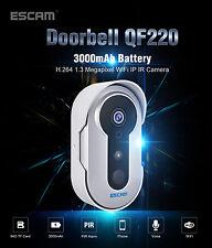 ESCAM Doorbell QF220 1.3M 960P H.264 WIFI IP IR Camera 3000mAH Battery New 2017