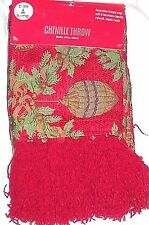 """Chenille Throw Red Fringe 50""""x60"""" Blanket New Ornaments Green Tree Christmas"""