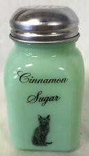 Jade Jadite Milk Green Glass Stove Top Spice Shaker w/Black Cat - Cinnamon Sugar