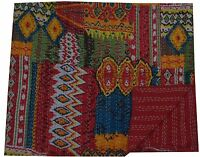 Queen Size Indian Kantha Handmade Quilt Throw Bedspread Blanket Ikat Gudari Red