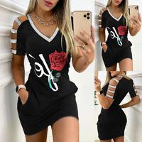 ❤️Womens Cold Shoulder Bodycon Ladies Summer Beach Party Casual Sport Mini Dress