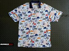 Natural Issue Men's Outdoor Fishing Boat Sword Fish Polo White Shirt Size Large