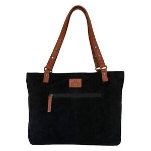 Over 60% Off Rowallan Large Black Suede Leather Handbag, Tote bag, Shoulder Bag