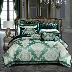 Bedding Set Queen King Bed Set Satin Egyptian Cotton Green Duvet Cover Bed Sheet