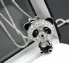 "Crystal Rhinestone Panda Bear Pendant 24""  Black & Silver Valentine Gift"