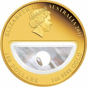 2011 PM 1oz $100 Pearls Gold  &1ct Diamond Locket Coin -Treasures of Australia