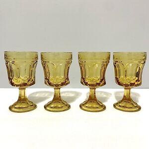 set of 4 vintage Amber colored 8 oz. glass goblets