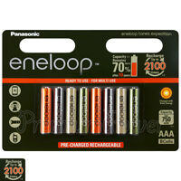 8 x Panasonic Eneloop AAA batteries 750 mAh Rechargeable Ni-MH Expedition Accu
