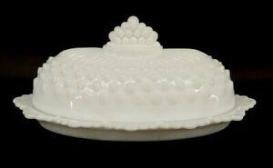 Fenton White Hobnail Milk Glass Covered Butter Dish W/ Scalloped Edge mAAD