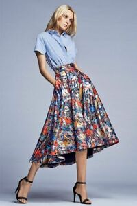 Alice + Olivia $496 Flora  Print Ball Skirt Long Colorful Statement - Size 0 XS